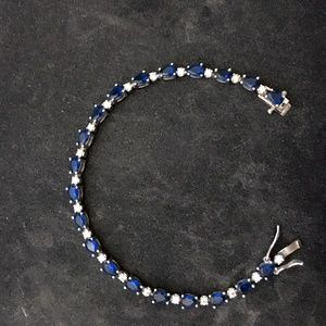 "STERLING NECKLACE 7"" with BLUE/FAUX DIAMONDS"